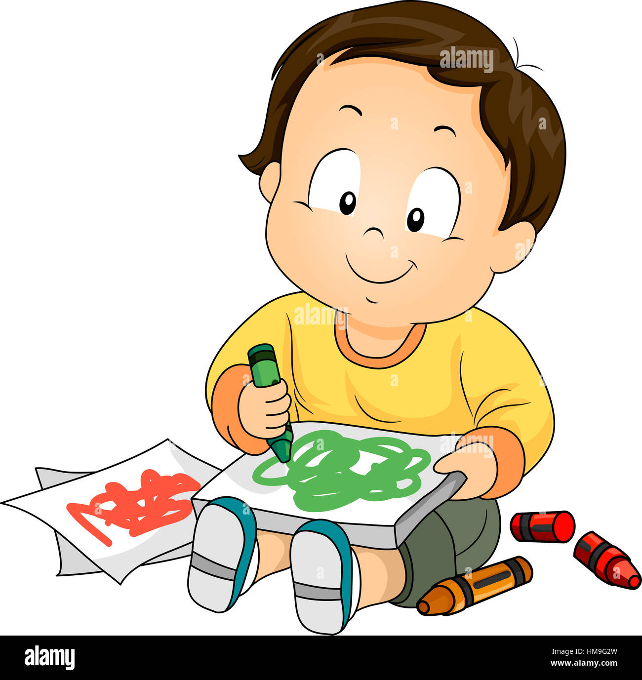 Illustration of a Baby Boy Drawing Doodles with Crayons ...
