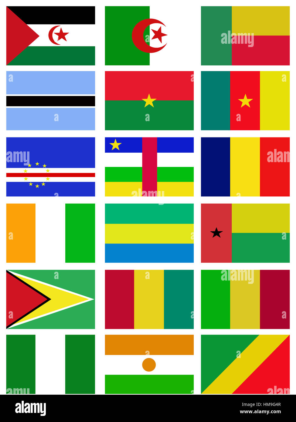 Africa nation flag collection background - Stock Image