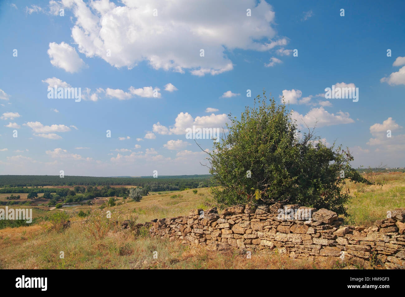 Rural landscape, a ruined fence made of natural stone, bush, pasture, in the background the river, the forest against Stock Photo