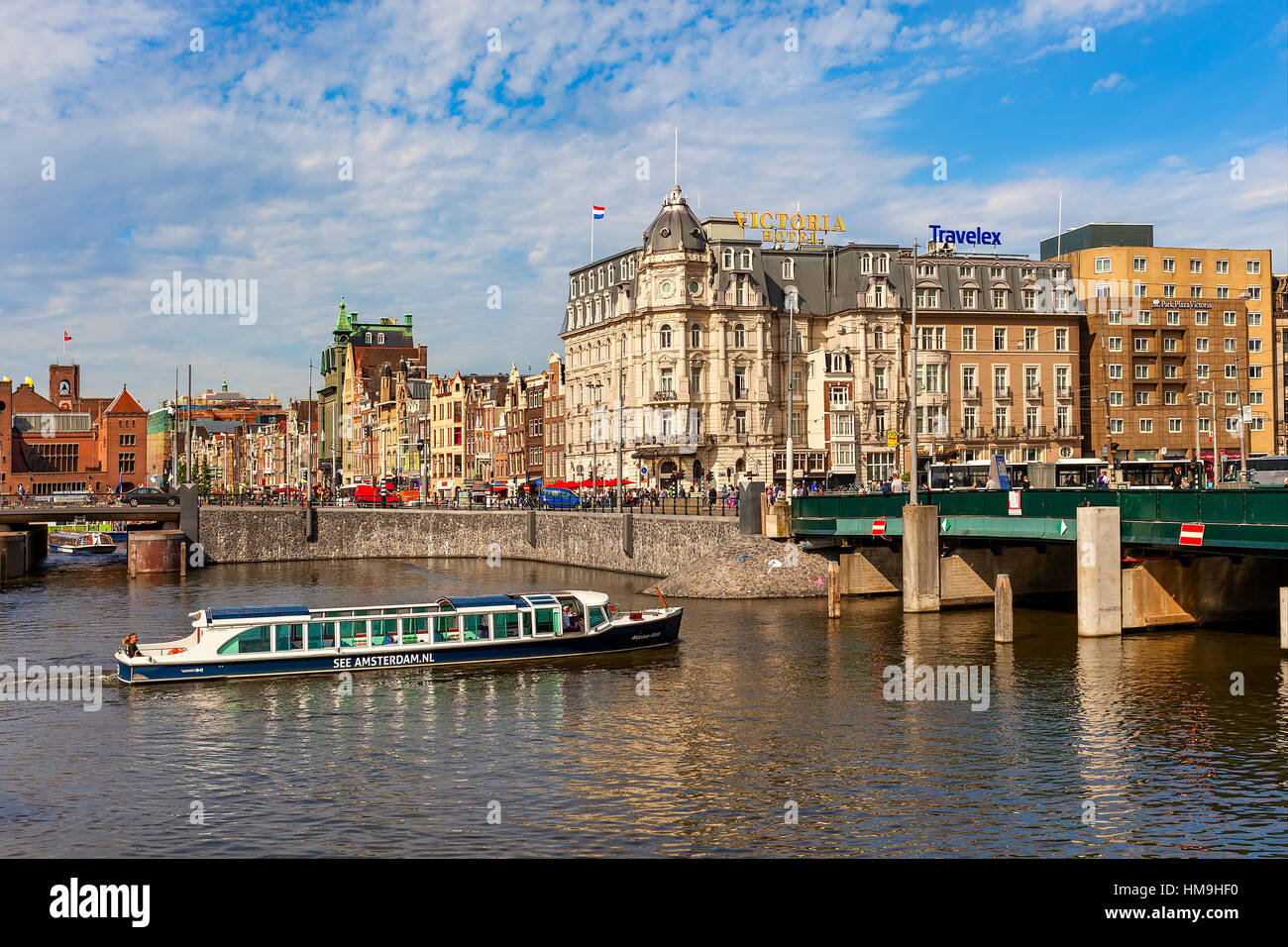 View of city center in Amsterdam - capital city and most populous in Netherlands. - Stock Image