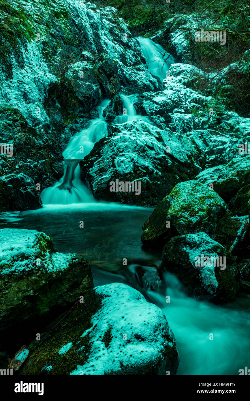 Nature of Vancouver Island - Todd creek waterfalls after first  snow. Potholes provincial park 4. - Stock Image