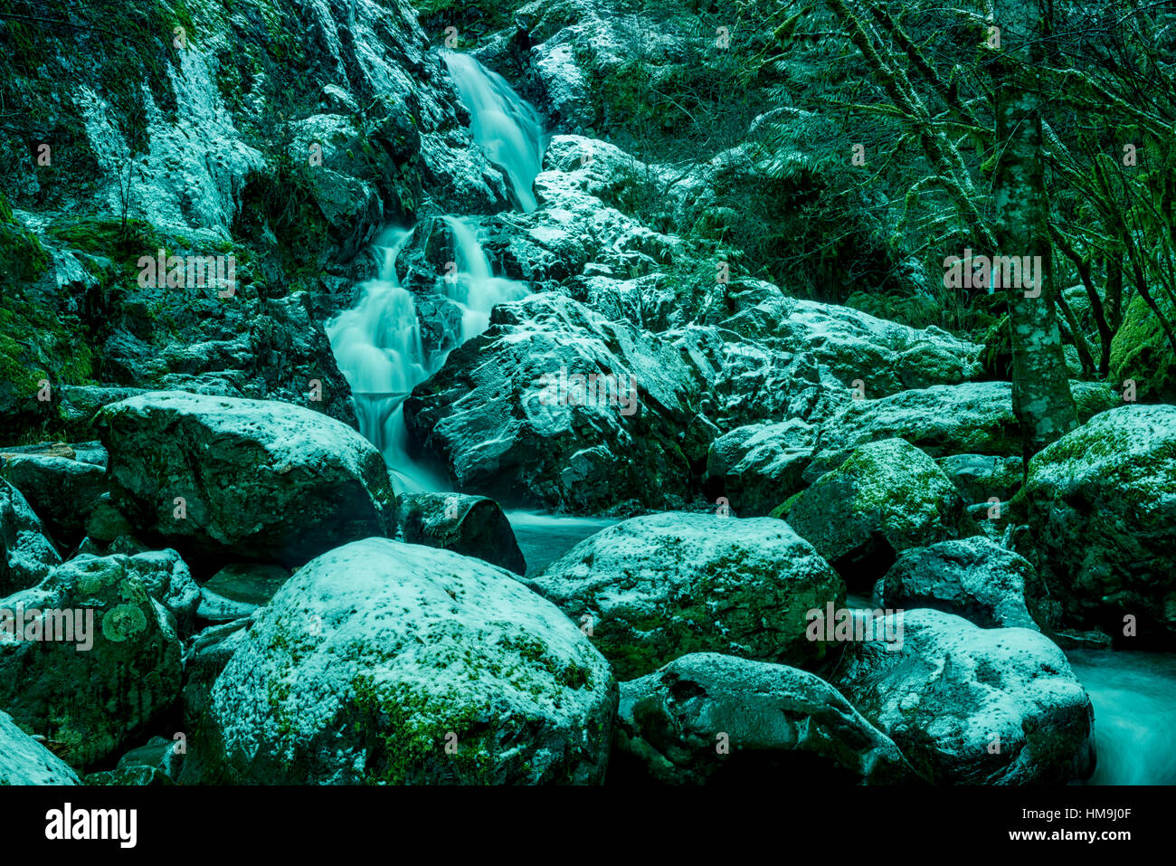Nature of Vancouver Island - Todd creek waterfalls after first  snow. Potholes provincial park 2. - Stock Image