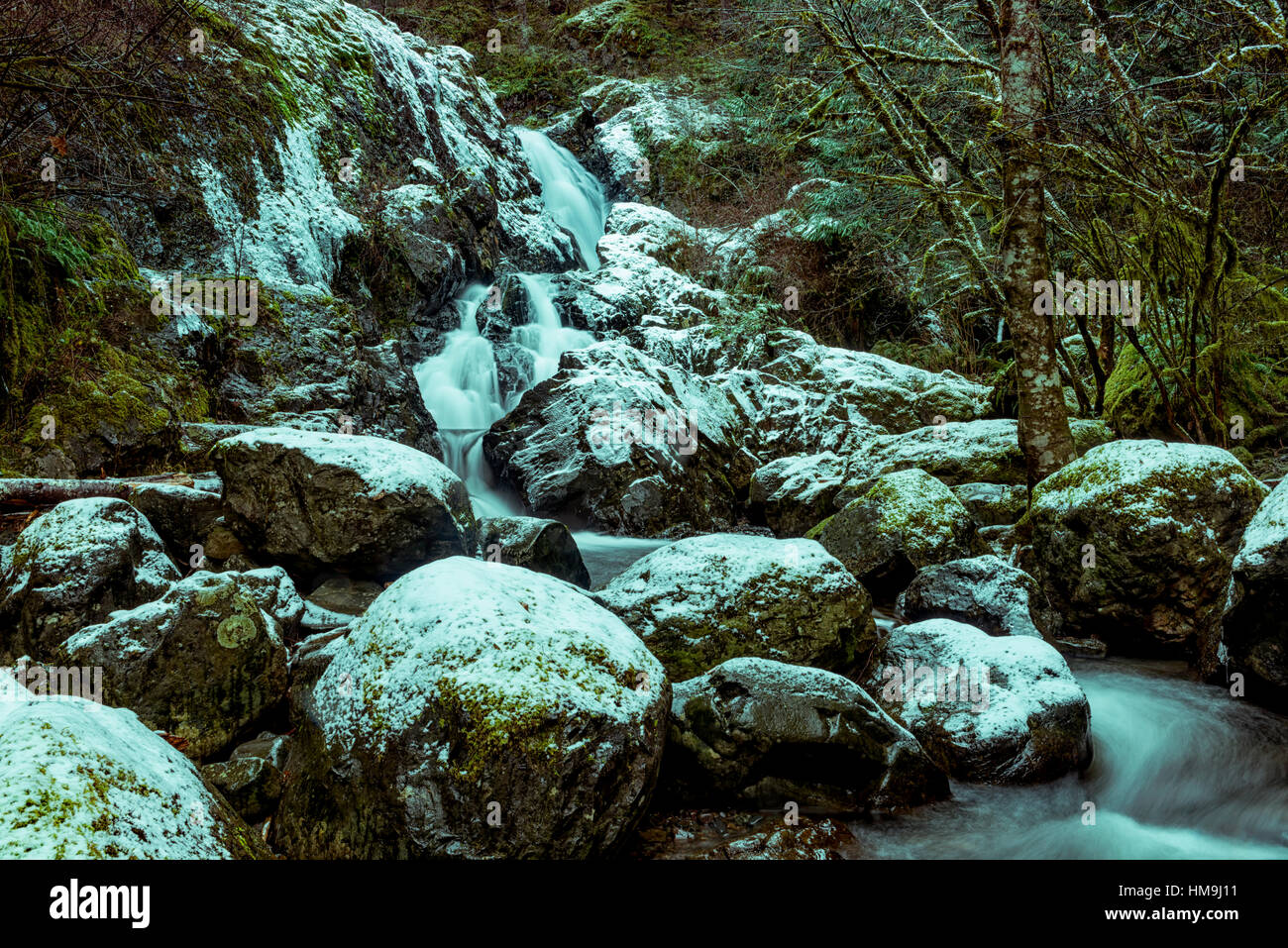 Nature of Vancouver Island - Todd creek waterfalls after first  snow. Potholes provincial park 1. - Stock Image