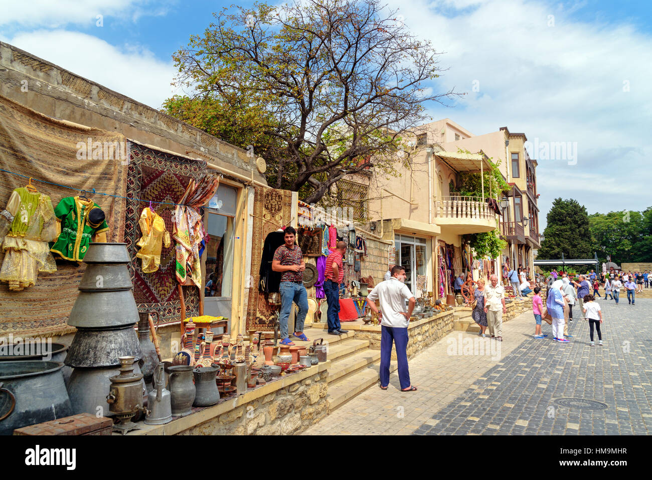 Baku, Azerbaijan - September 10, 2016: Souvenir and antique shops in Old city, Icheri Sheher is the historical core - Stock Image