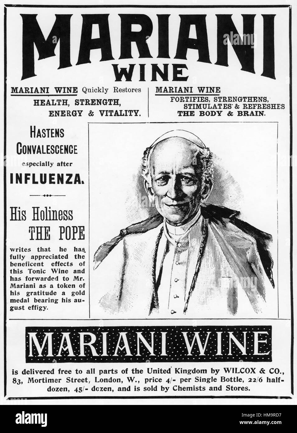 MARIANI WINE  A tonic and patent medicine advert about 1865 incorporating Pope Leo XIII - Stock Image