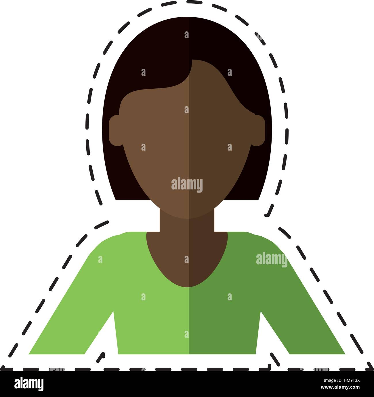 woman short hair ethnicity cutting line Stock Vector