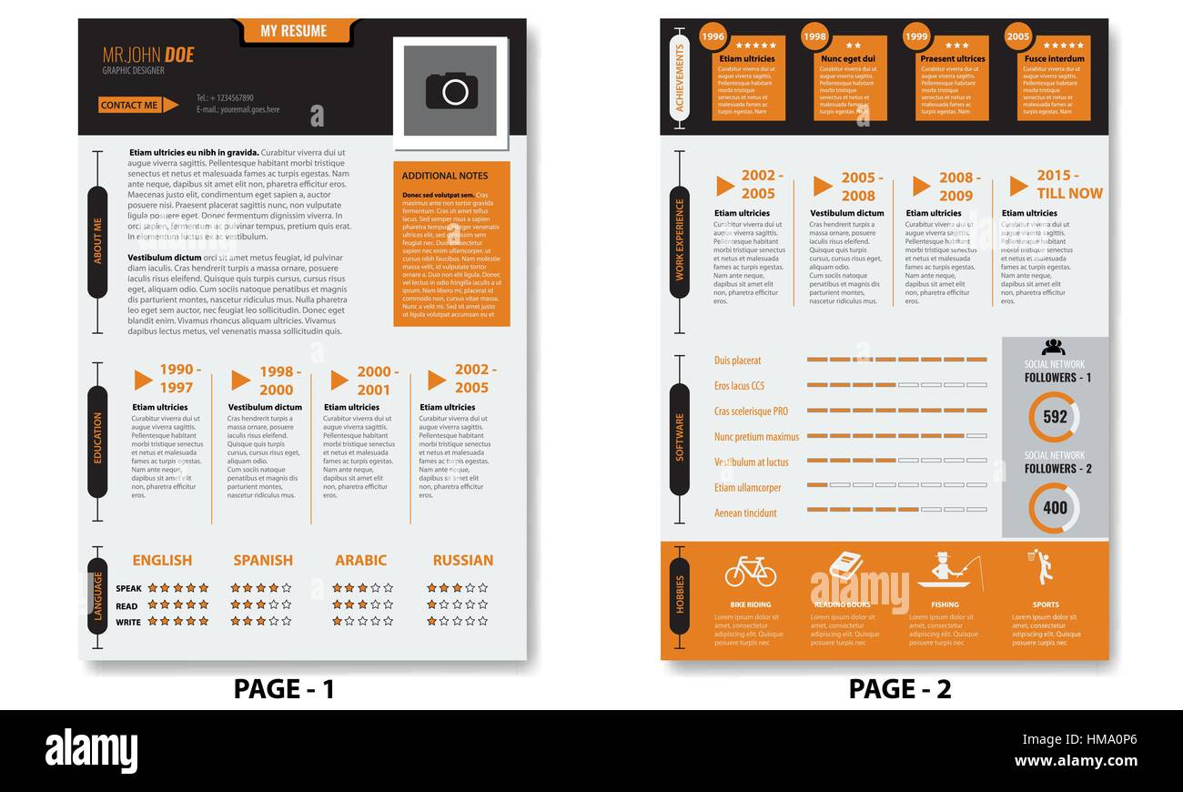Vector Creative Minimalist Cv Resume Template With Photo Frame And
