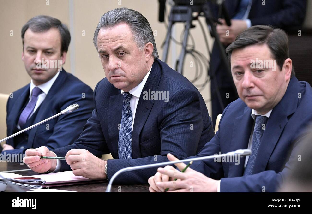 Moscow, Russia. 01st Feb, 2017. Russian Deputy Prime Ministers Arkady Dvorkovich, left, Vitaly Mutko and Alexander - Stock Image