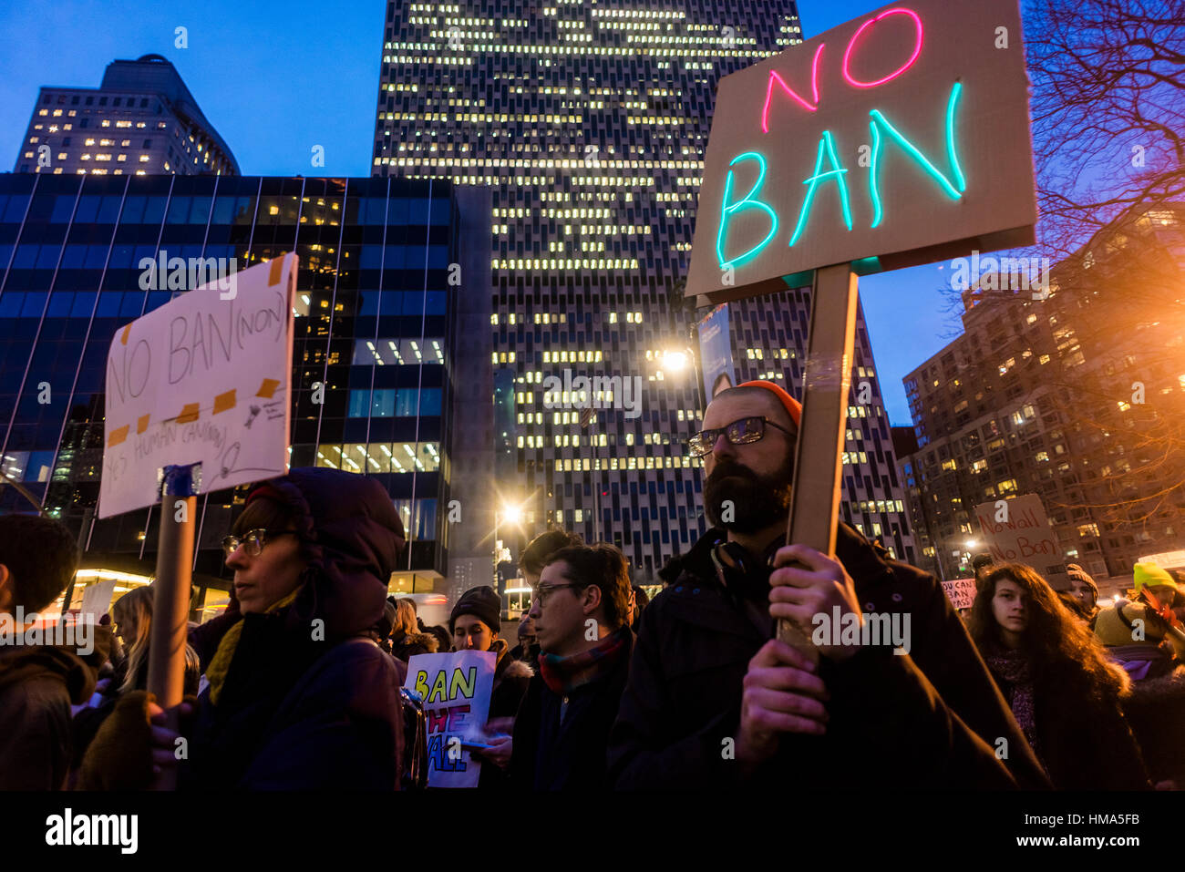 New York City, USA. February 1st, 2017 No Ban No Wall March for Muslims and Allies. Muslims and immigration advocates - Stock Image
