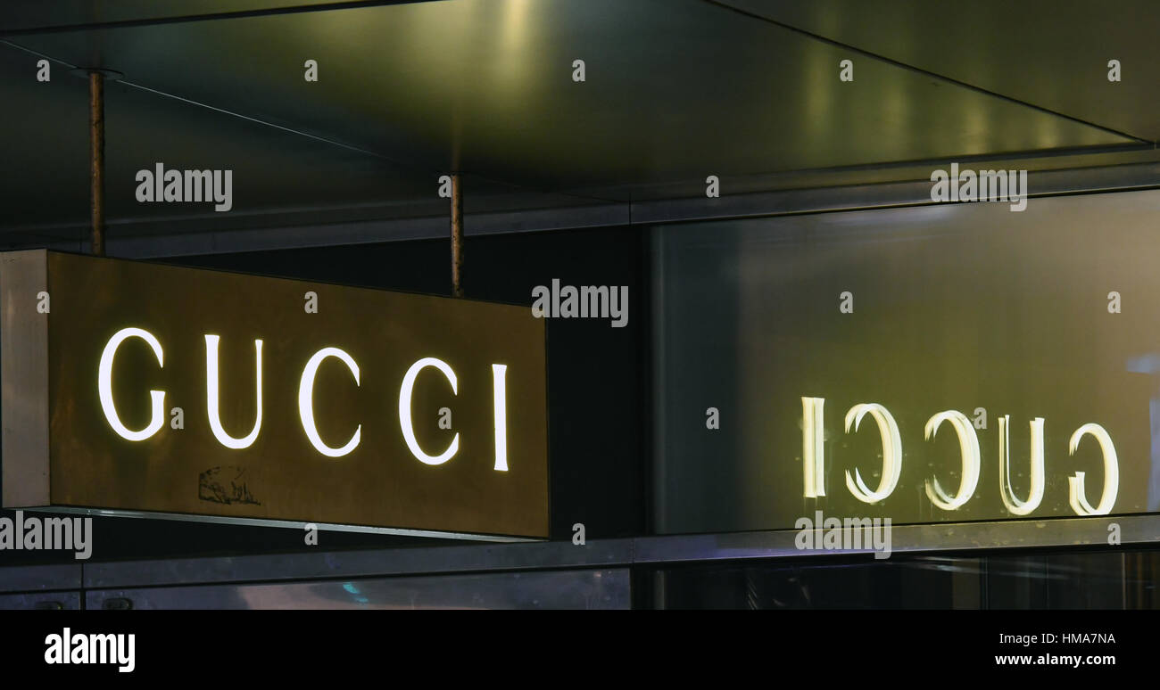 5392eea7325 The logo of the luxury goods company Gucci in a shop in Berlin Stock ...