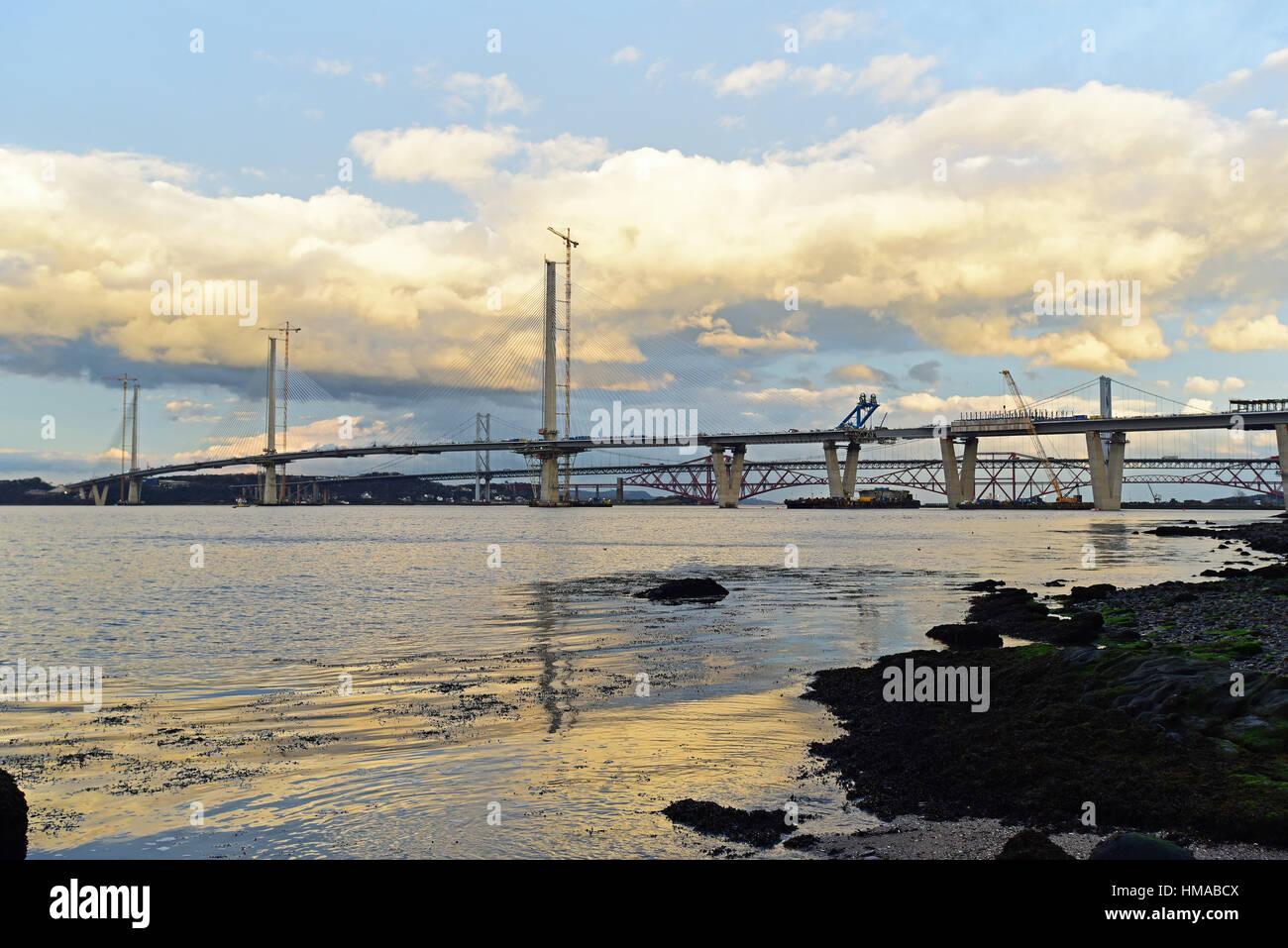 Edinburgh, Scotland, UK. 2nd Feb, 2017. The new Queensferry Crossing road bridge across the Forth Estuary appears - Stock Image