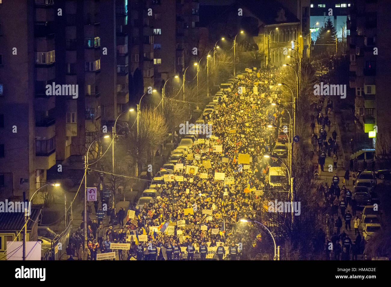 Cluj-Napoca, Romania. 2nd February, 2017. Tens of thousands Romanians marched the streets of Cluj-Napoca to protest - Stock Image