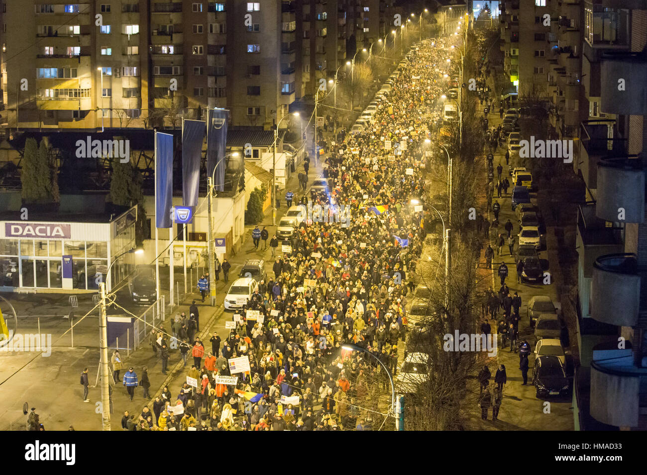 Cluj-Napoca, Romania. 2nd February 2017. Tens of thousands Romanians marched the streets of Cluj-Napoca to protest - Stock Image