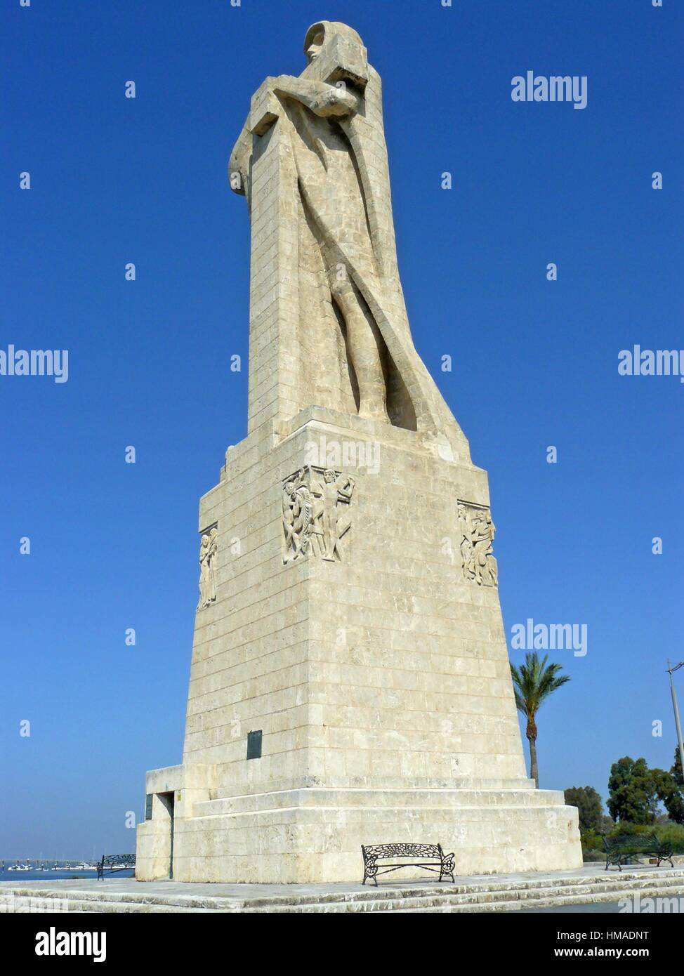 Huelva (Spain). Monument of Faith discoverer near the city of Huelva. - Stock Image