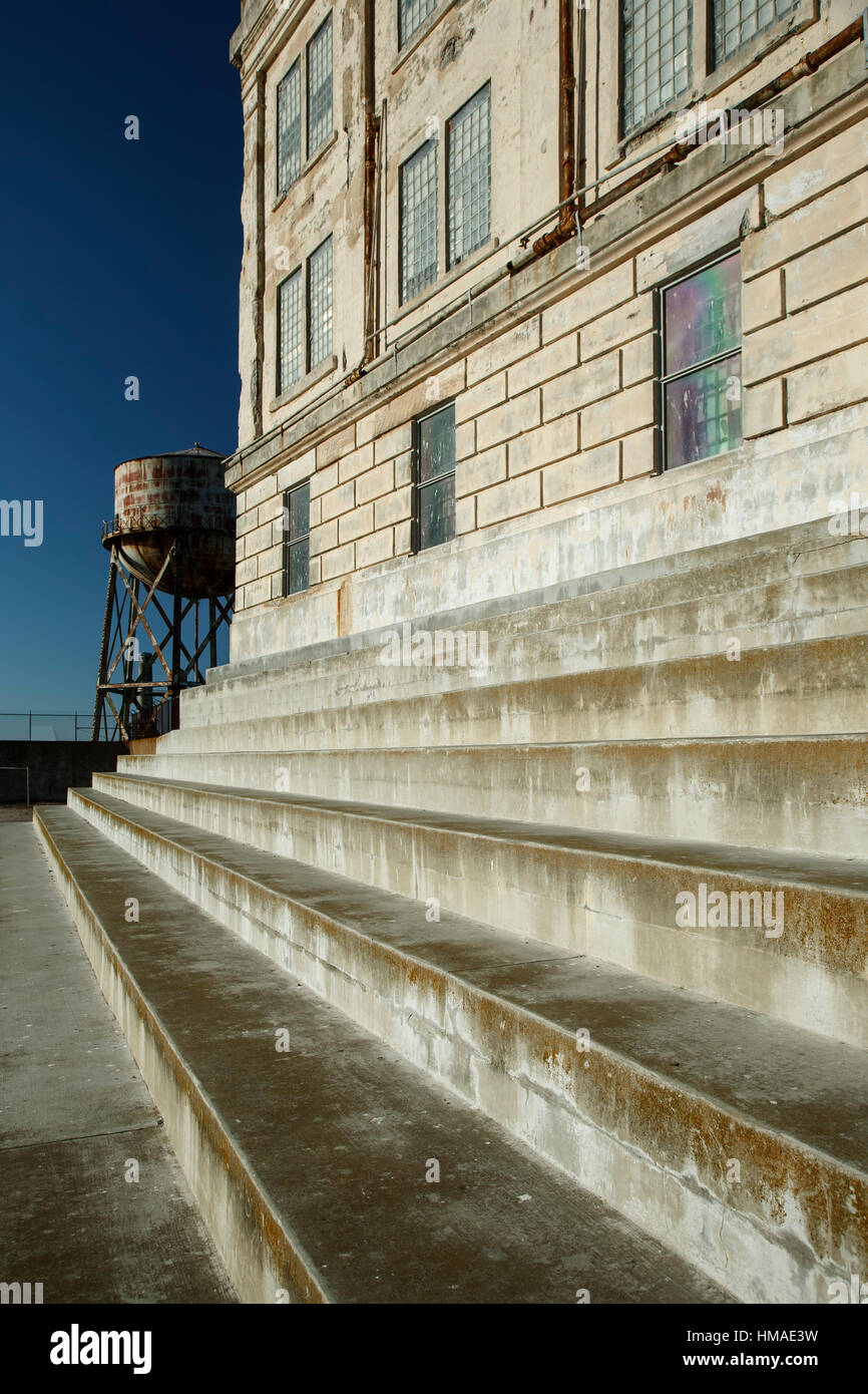 Cellhouse steps and Water Tower, Alcatraz Island, San Francisco, California USA - Stock Image
