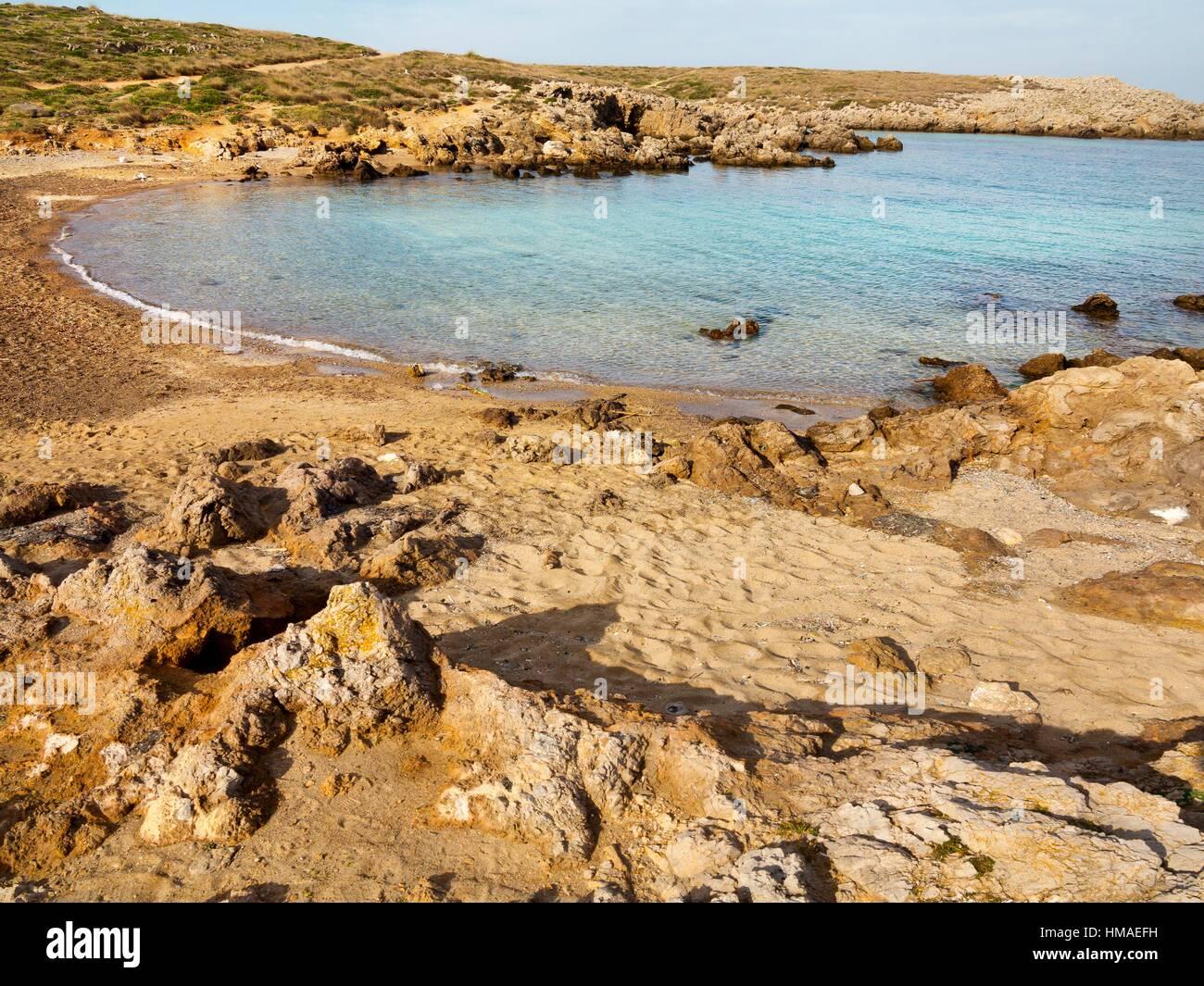 Cala Viola de Poniet in Menorca. Islas Baleares. Spain. Europe. - Stock Image