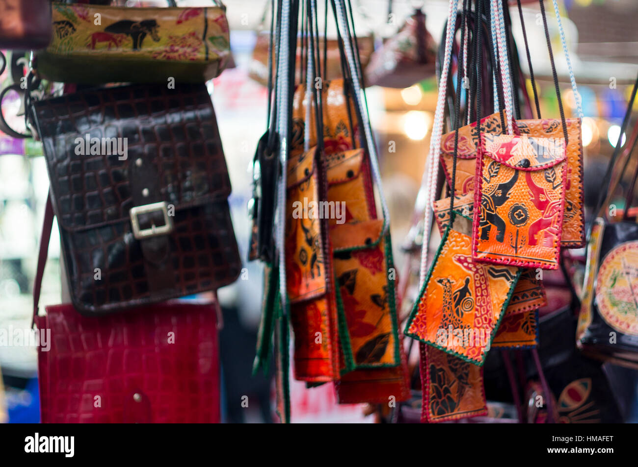 Handicraft leather bags for sale - Stock Image