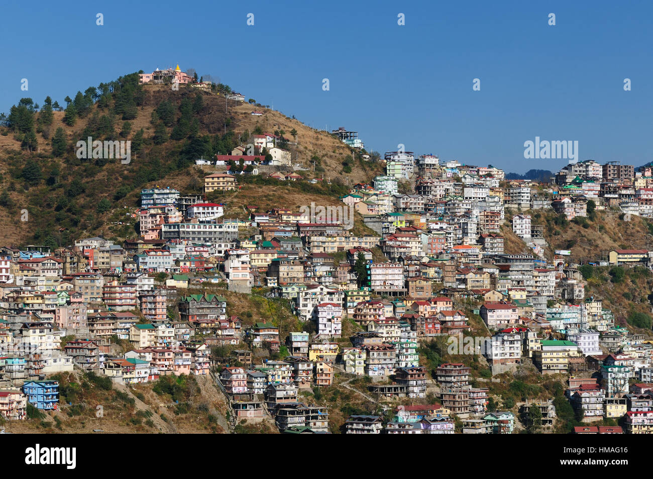 View on the Indian city in Himalaya mountains near Shimla - Stock Image