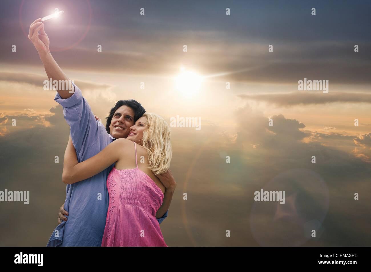 Miami Beach. Florida. Usa. Couple taking selfie. Stock Photo