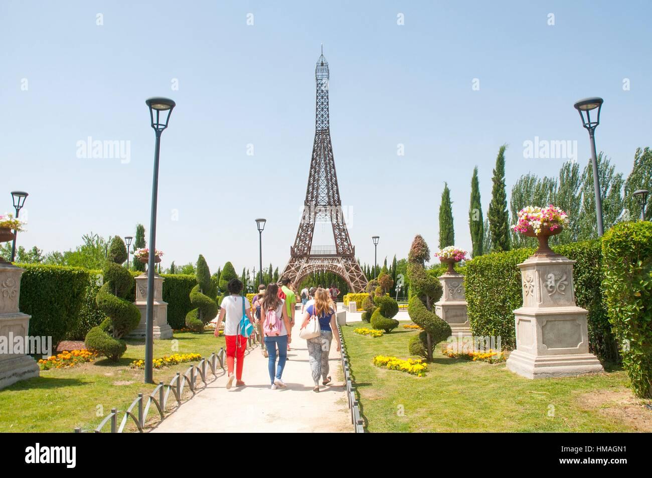 Eiffel Tower, scale model. Parque Europa, Torrejon de Ardoz, Madrid province, Spain. Stock Photo