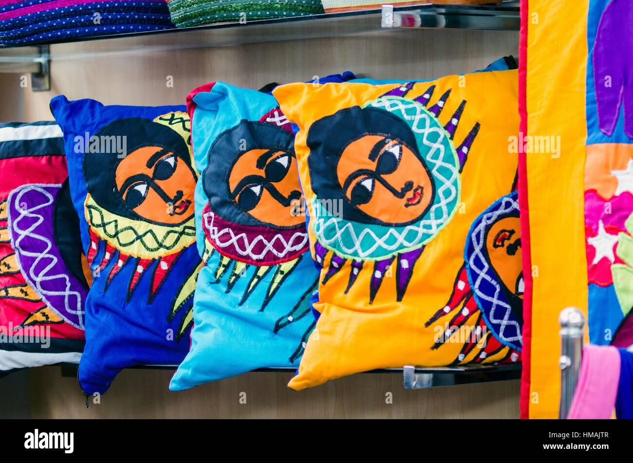 Cushions with traditional religious motif, Craft shop, Addis Ababa International Airport, Ethiopia - Stock Image