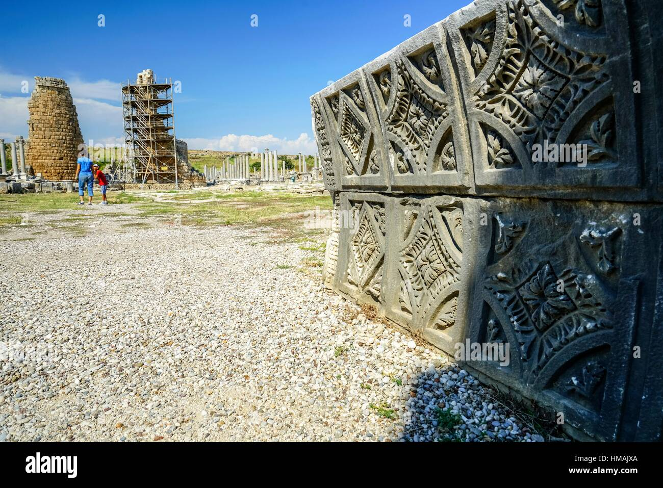 Hellenistic Gate of Perge, Old capital of Pamphylia Secunda. Ancient Greece. Asia Minor. Turkey - Stock Image