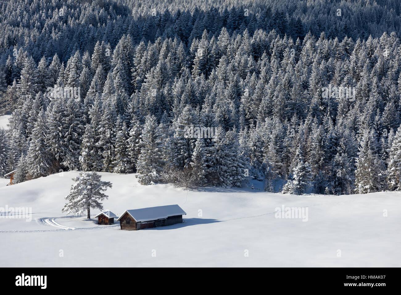 Winter landscape in Alps, Germany Stock Photo