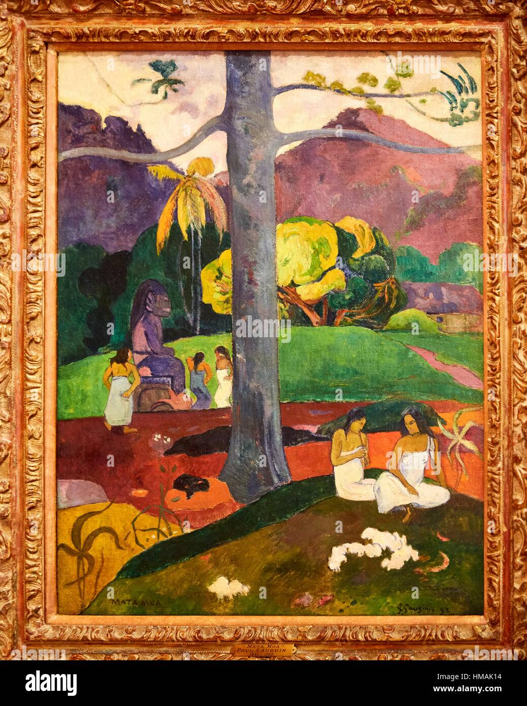 '''Mata Mua (In Olden Times)'', 1892, Paul Gauguin, Thyssen-Bornemisza Museum, Madrid, Spain - Stock Image