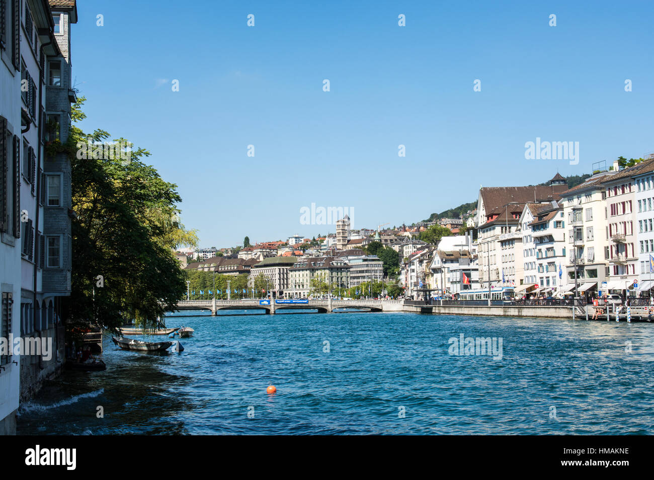 The city Zurich in Switzerland with blue sky in summer - Stock Image