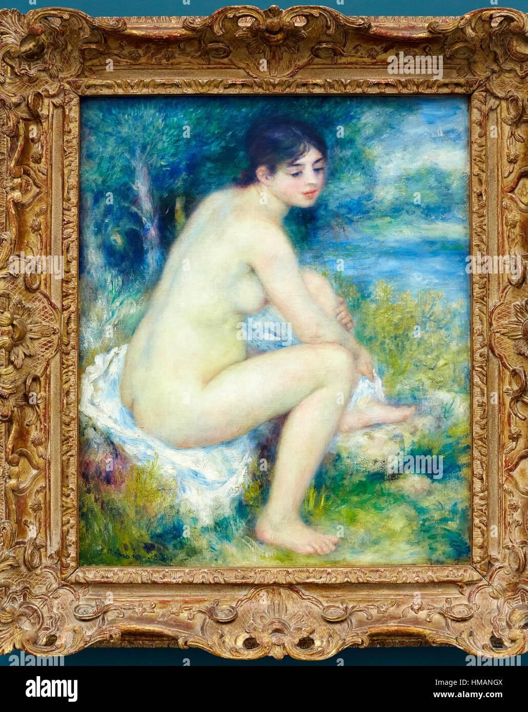 Femme nue dans un paysage, Pierre-Auguste Renoir, Musee de L´Orangerie, Tuileries, Paris, France - Stock Image