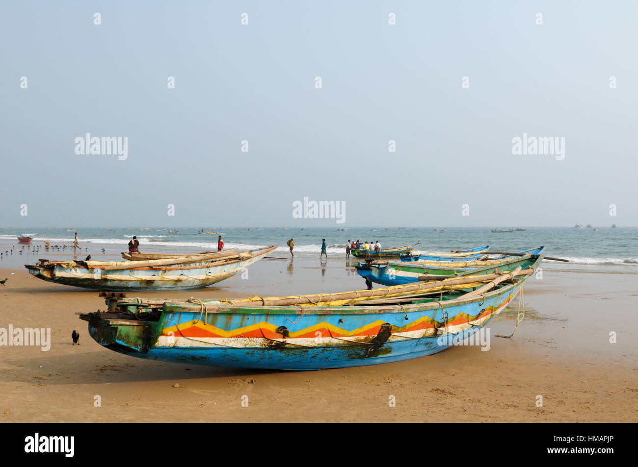 Fishermen boat on a sandy beach in Orissa, India Stock Photo