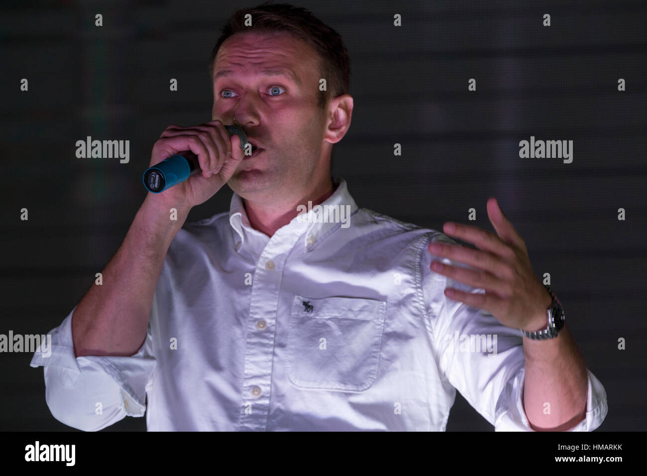 Russian opposition activists Alexei Navalny addressed speaking from a stage in front of the protesters at a rally Stock Photo