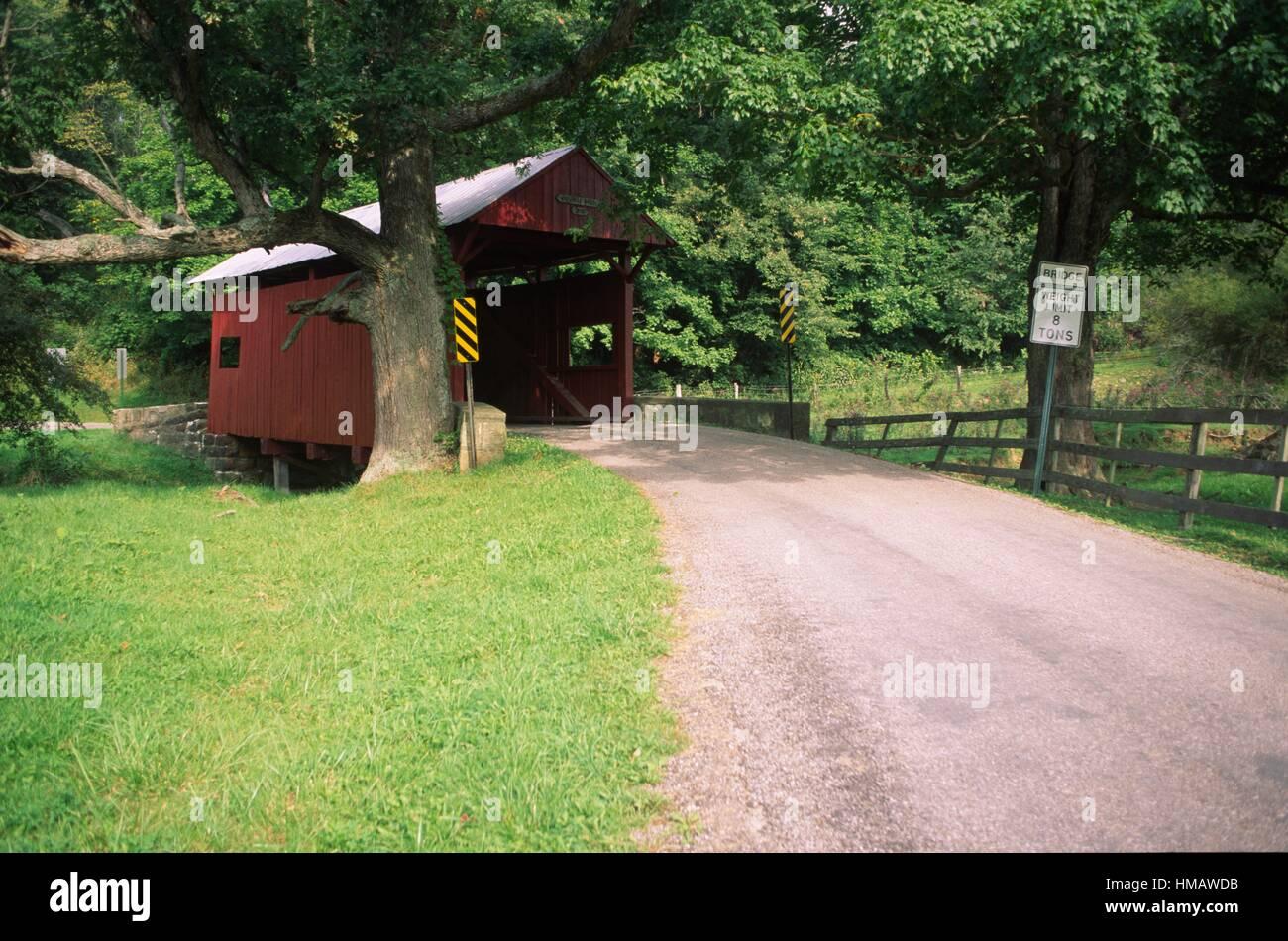 Brownlee Covered Bridge (original location), Washington County, Pennsylvania. - Stock Image