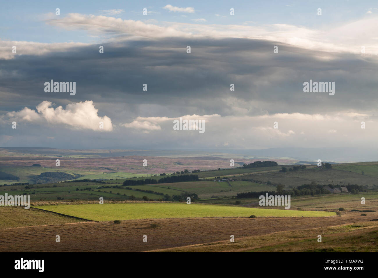 Hadrians Wall: the view to the south from Highshield Crags, looking across the South Tyne valley towards the hills - Stock Image