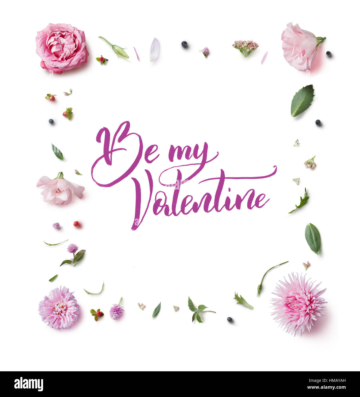 Greeting card with flowers frame and the words calligraphy be my greeting card with flowers frame and the words calligraphy be my valentines m4hsunfo