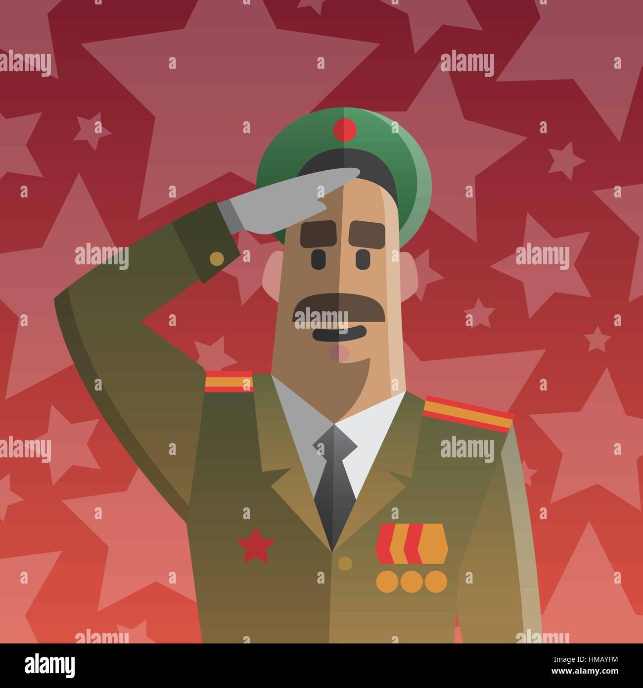 Twenty three of February military men postcard. - Stock Vector