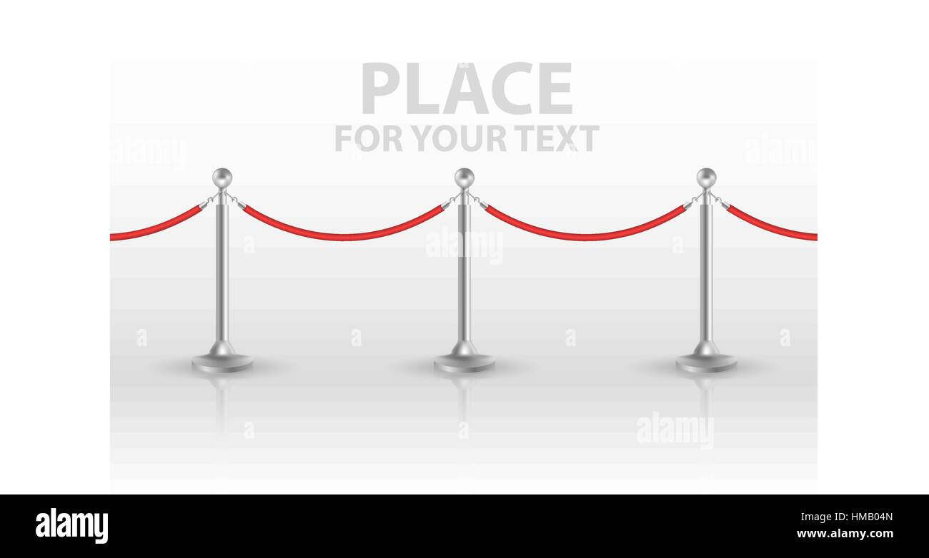 Stand rope barriers open. vector illustration - Stock Image