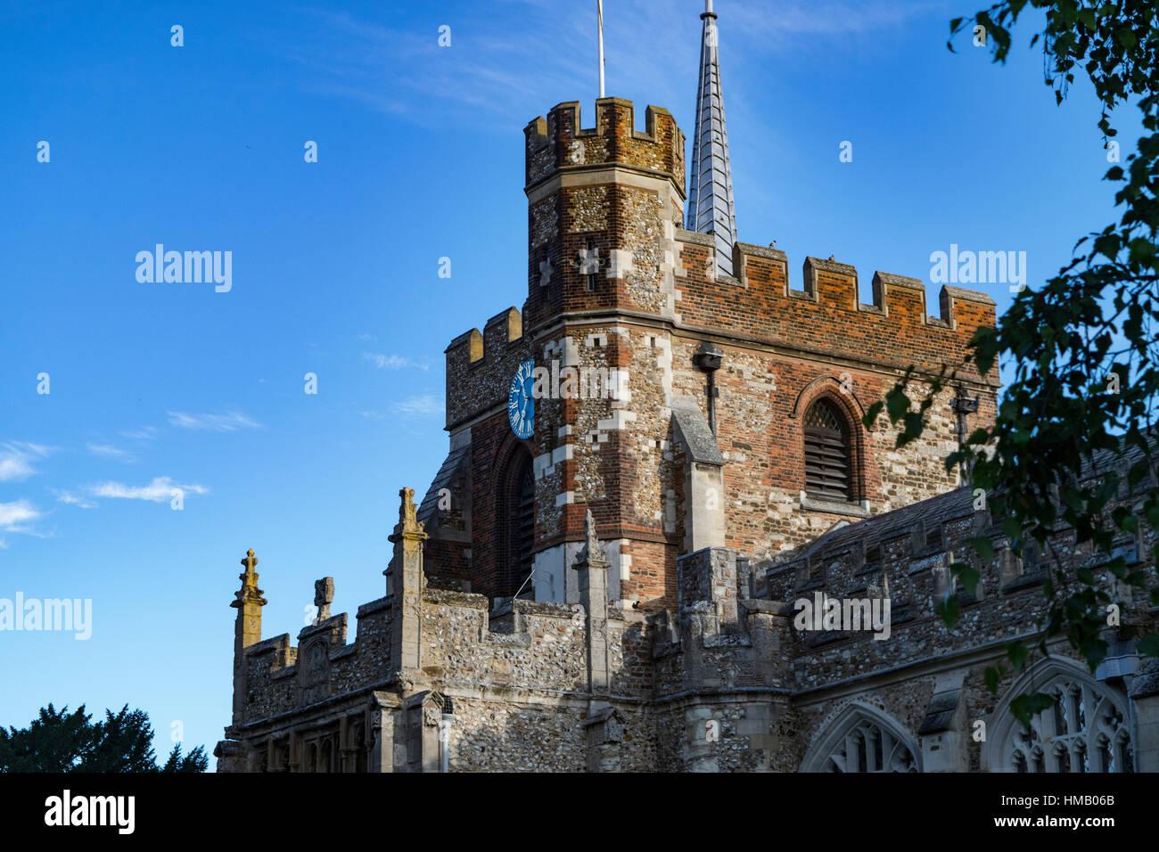 Clock tower of St Marys Church, Hitchin, Hertfordshire - Stock Image
