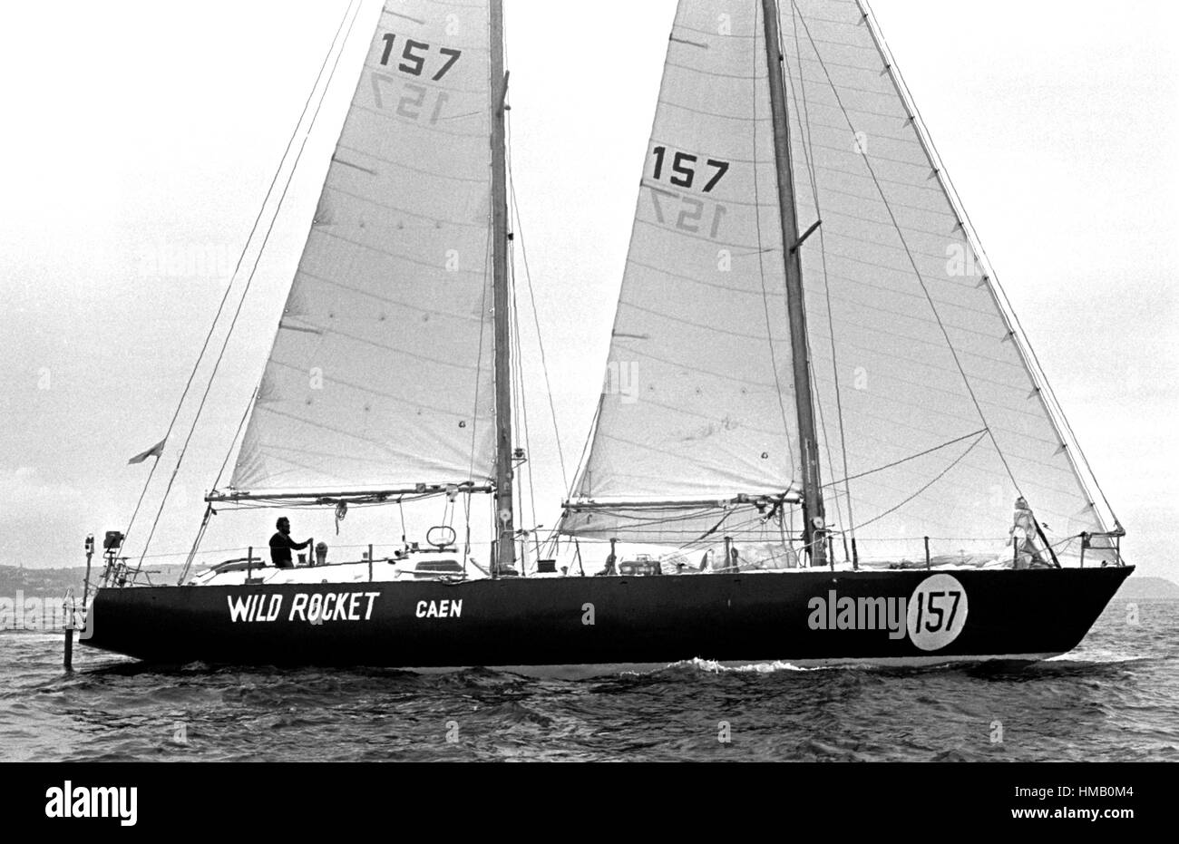 AJAXNETPHOTO. 6TH JUNE, 1976. PLYMOUTH, ENGLAND. - OSTAR 1976 - 63FT MONOHULL WILD ROCKET SKIPPERED BY FRENCHMAN Stock Photo