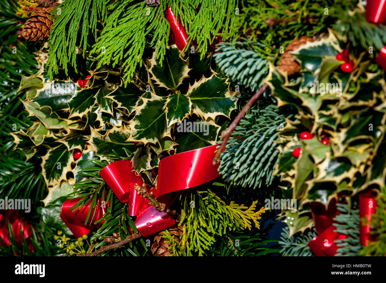 Christmas Decorations At West Dean College Stock Photo