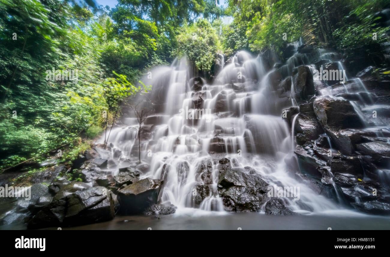 Waterfall, Air Terjun Kanto Lampo, near Ubud, Bali, Indonesia - Stock Image