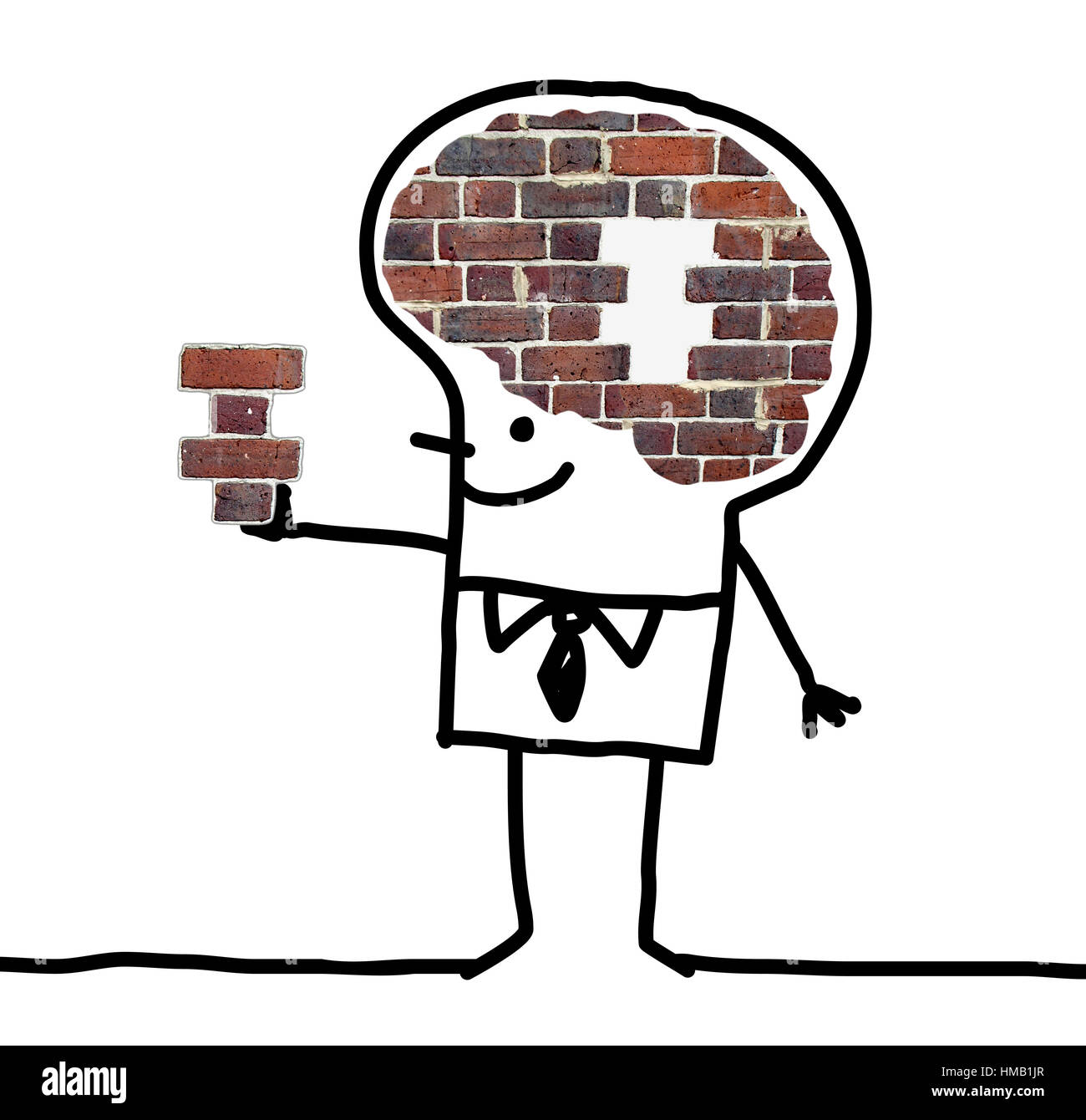 Cartoon Big Brain Man - wall and puzzle - Stock Image