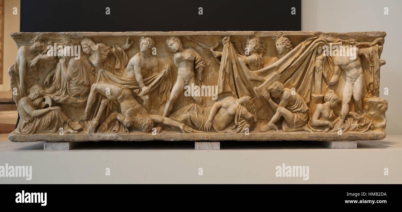 Sarcophagus of the Oresteia. Marble. 2nd century. Husillos (Palencia). Tragic myth of revenge of Orestes. National - Stock Image