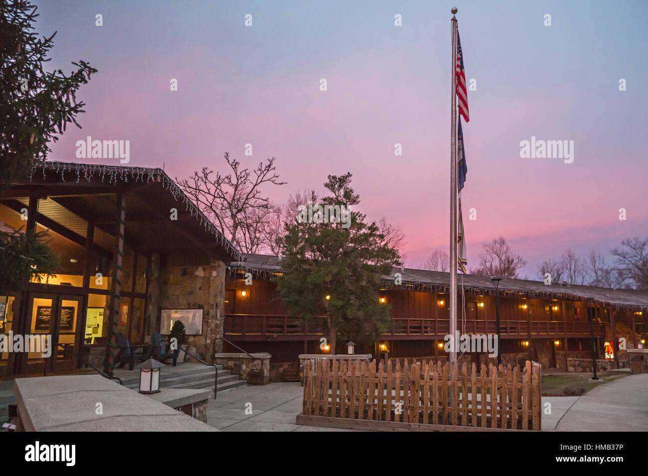 Olive Hill, Kentucky - The Lewis Caveland Lodge at Carter Caves State Resort Park. - Stock Image