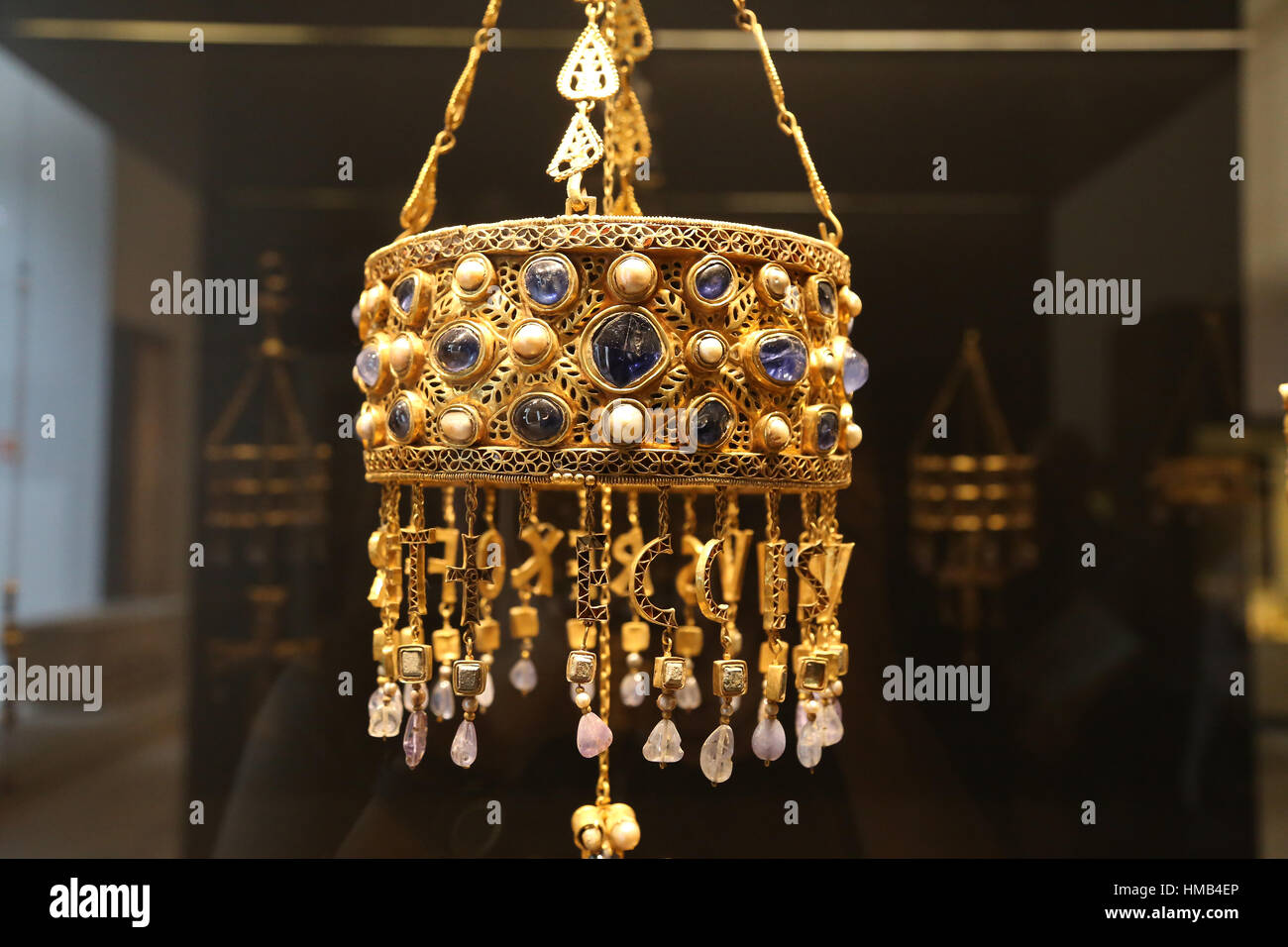 Treasure of Guarrazar. Votive crown of the visigoth king Reccesuinth. Gold and precious stones. 7th century. Guadamur, - Stock Image