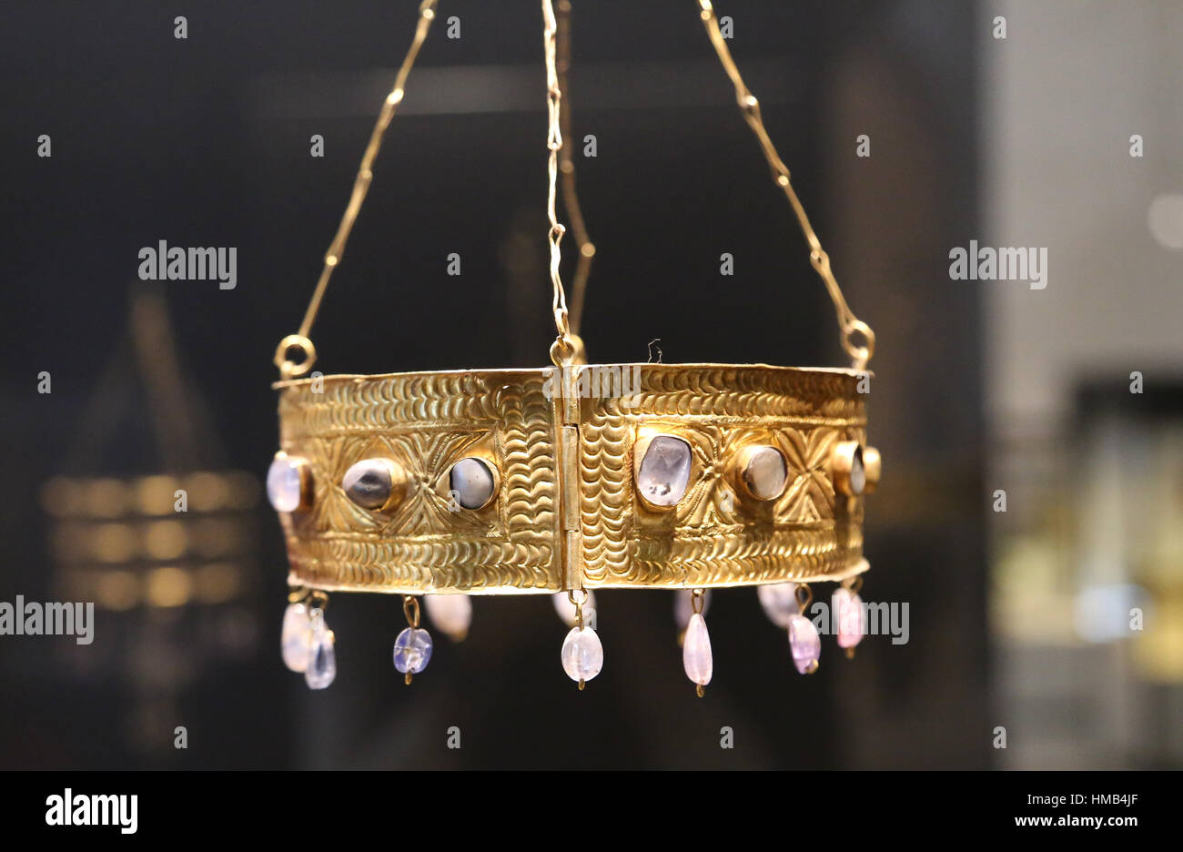 Treasure of Guarrazar. Visigoth votive crown. Gold and precious stones. 7th century. Guadamur, Toledo, Spain. National - Stock Image