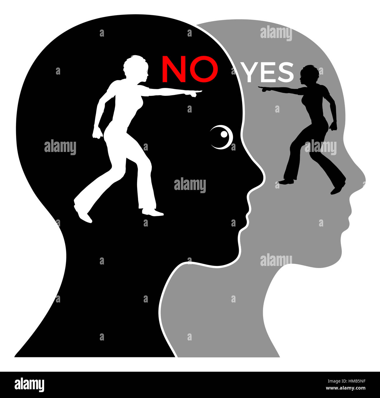 Consciousness versus unconsciousness, making complicated decisions, yes or no - Stock Image
