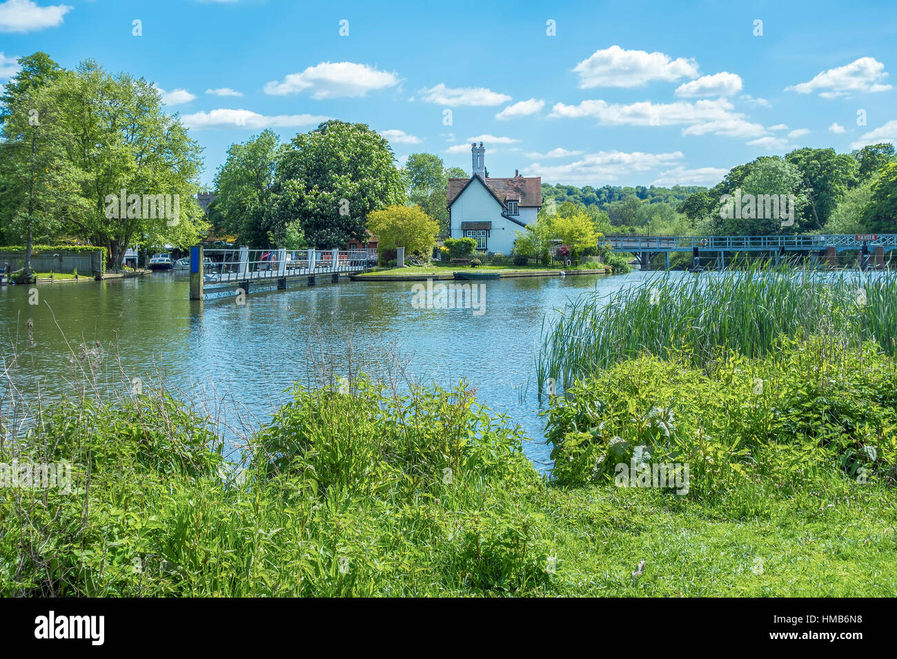 River Thames At Goring On Thames Oxfordshire UK - Stock Image