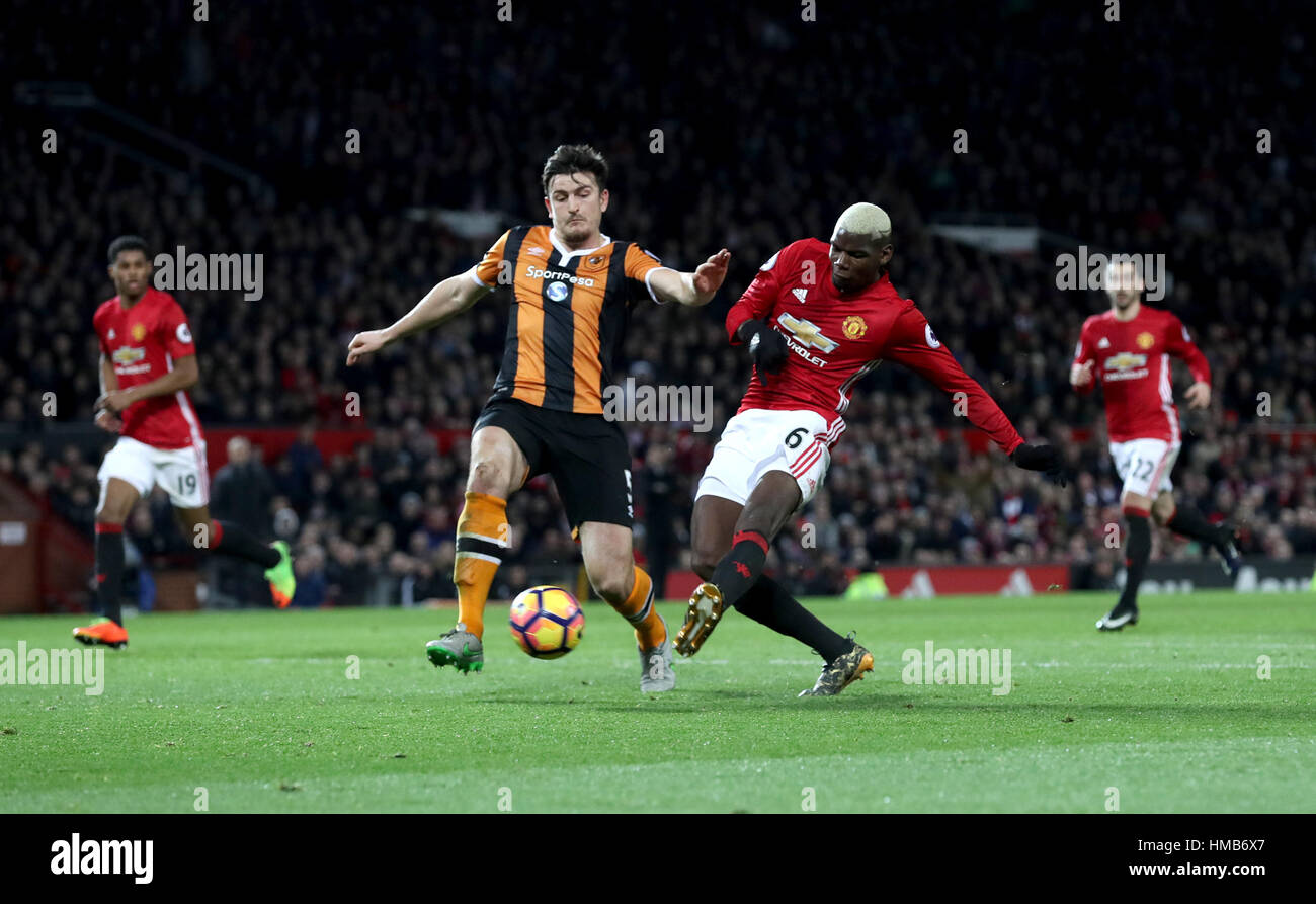 Manchester United's Paul Pogba has a shot on target during