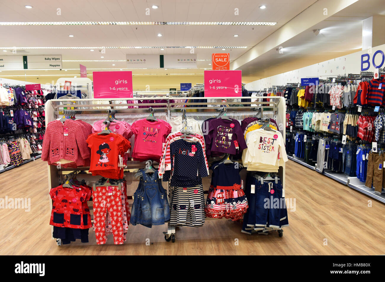 b690e15535f8 Children s clothing on sale in a supermarket UK Stock Photo ...